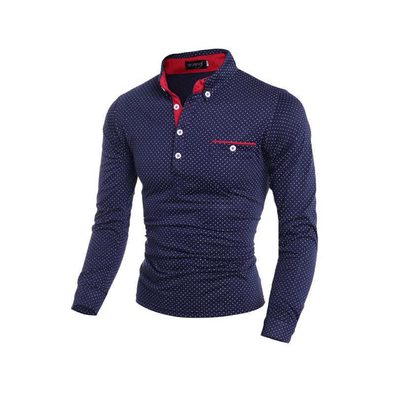 رجل قميص بولو العلامة التجارية الجديدة 2019 الذكور طويلة الأكمام موضة عادية سليم البولكا نقطة جيب زر Polos الرجال الفانيلة