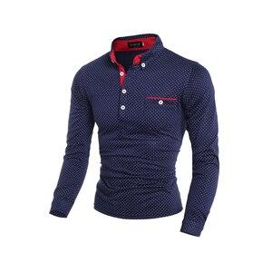 Image 4 - Heren Polo Shirt Merk Nieuwe 2019 Mannelijke Lange Mouwen Fashion Casual Slim Polka Dot Pocket Knop Polos Mannen Jerseys