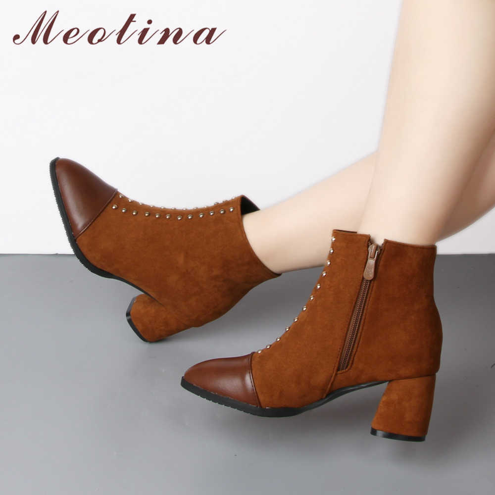 563eb4a6c19 Detail Feedback Questions about Meotina Rivet High Heel Boots Ankle ...