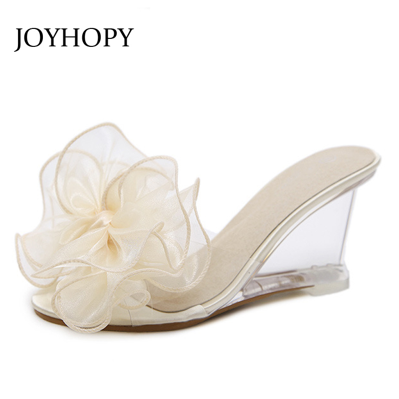 2ad10c19ee37a JOYHOPY Bling Wedge Platform Shoes Woman Slipper Women High Heels ...