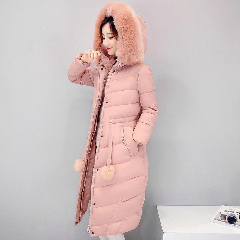 Women Winter long Coat Hooded Fur Collar Parka X-long Thicken Winter Warm Coat Adjustable Waist Female Cotton Padded OvercoatH49