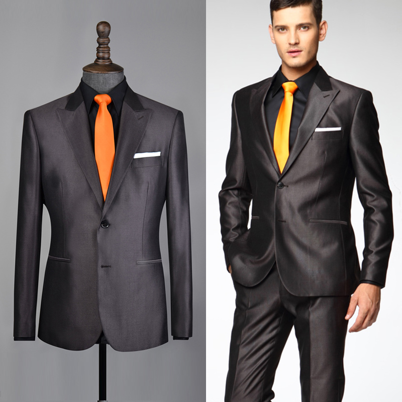 Aliexpress.com : Buy 2014 New Coffee Suit Dark Brown Suit Shiny ...