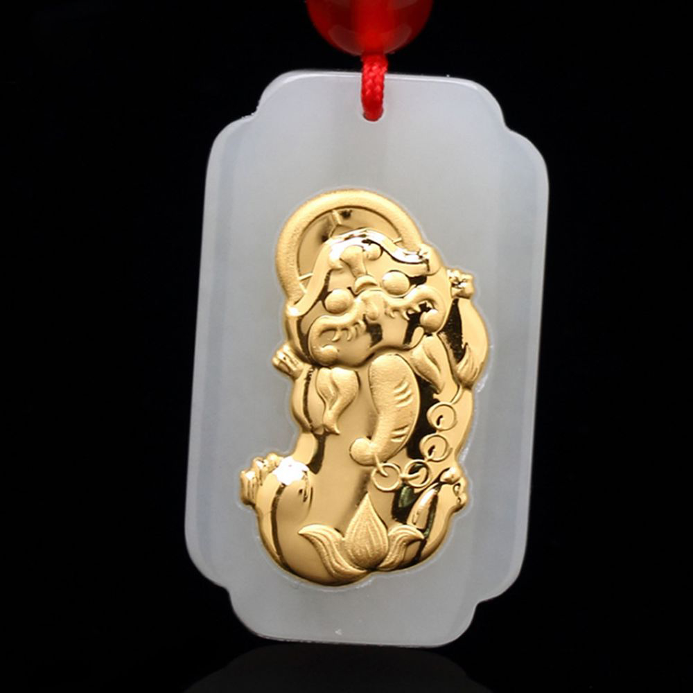 Natural Jade Gold Lion Pixiu Pendant For Men Women Lovers Family Jewelry Best Gift Jade Necklace Pendants