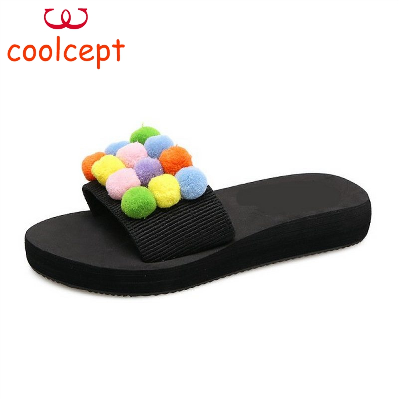 Coolcept Fashion Women Thick Platform Shoes Women Sweety Pompon Peep Toe Slippers Women Soft Trifle Footwear Size 35-39