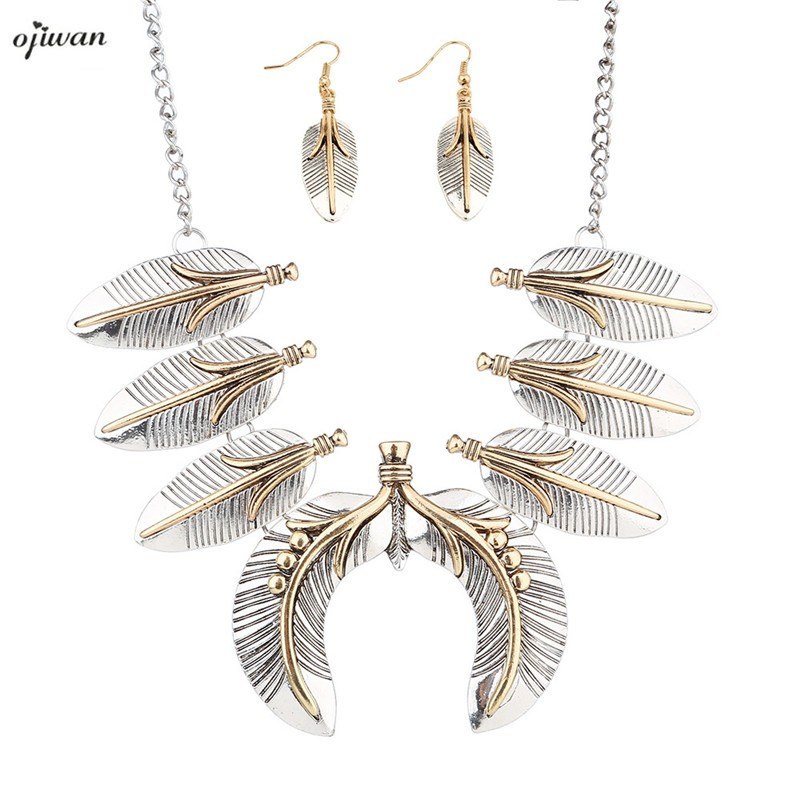 Cowgirl Feather Pendant Gypsy BOHO Collier Choker Collier Bijoux Set Gift