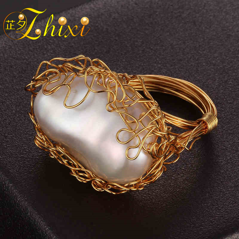 ZHIXI Pearl Rings For Women Fine Jewelry 13-14mm Baroque Freshwater Pearl Wedding Bands Fashion Party Gift Box EB215JZHIXI Pearl Rings For Women Fine Jewelry 13-14mm Baroque Freshwater Pearl Wedding Bands Fashion Party Gift Box EB215J
