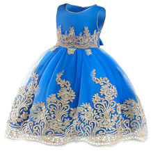 Elegant Kids Girls Princess Party Dress Embroidery Tutu Tulle Evening Gown Flower Wedding Bridesmaid for