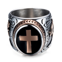 DANZE Knight Templar Crusaders Logo Mens Signet Rings Cross Titanium Steel Medieval Anel Masculino Jewelry For Gifts Size 7#-13# 2