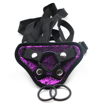 smspade Black and purple rosey PU strap on harness for strap on dildo sexy underwear for