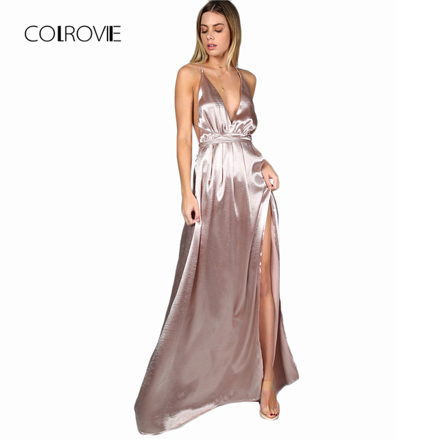 COLROVIE Maxi Party Dress Women Pink Plunge Neck Sexy Cross Back Wrap High  Slit Summer Dresses fdedbbc794c6