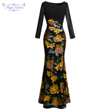 Angel-fashions Womens Evening Dresses Long Sleeve Flowers Sequin V Nec