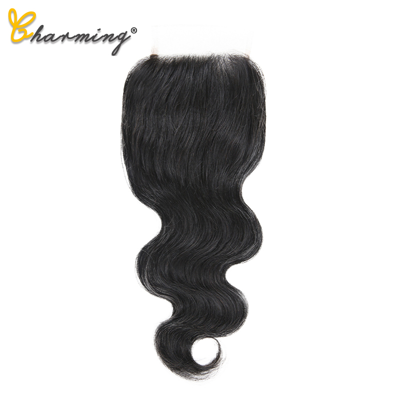 CHARMING Body Lace Closure Peruvian Natural Color 4*4 Free/Middle/Three Part Non Remy Human Hair Closure 8 To 22 Inch