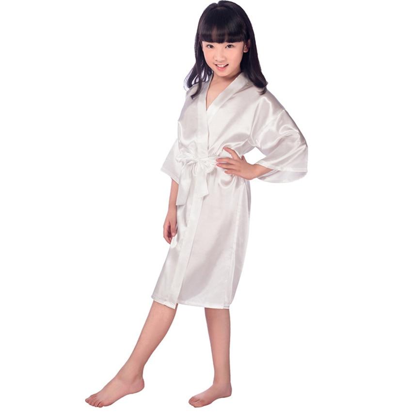 a7f8fc1a5633f 5pcs/lot Flower girl stain robes bathrobe for girls kimono robe solid  children dressing gown peignoir enfant bridesmaid dress