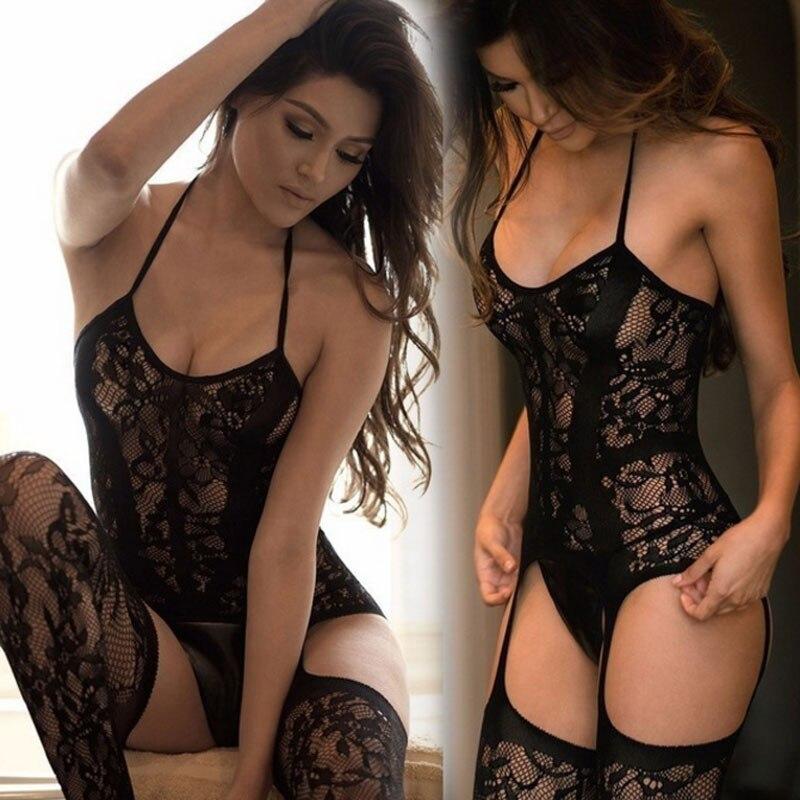 2019 nouvelles femmes Sexy Lingerie ouverte creux bas jarretière ceinture résille collants transparents collants long bas