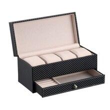 Fashion Stylish 2 IN 1 Storage Box Black Watch Organizer Cuff-link Box With Drawer Jewelry Accessories Durable Display Case