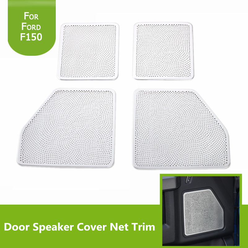 4PCS Chrome Silver Interior Door Speaker Aluminium Alloy Cover Net ABS Decorative Frame Trim For Ford