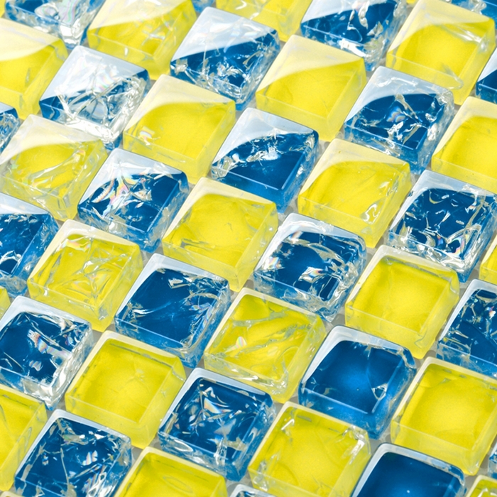 Yellow mixed blue crakle glass mosaic tiles for kitchen for Yellow mosaic bathroom tiles