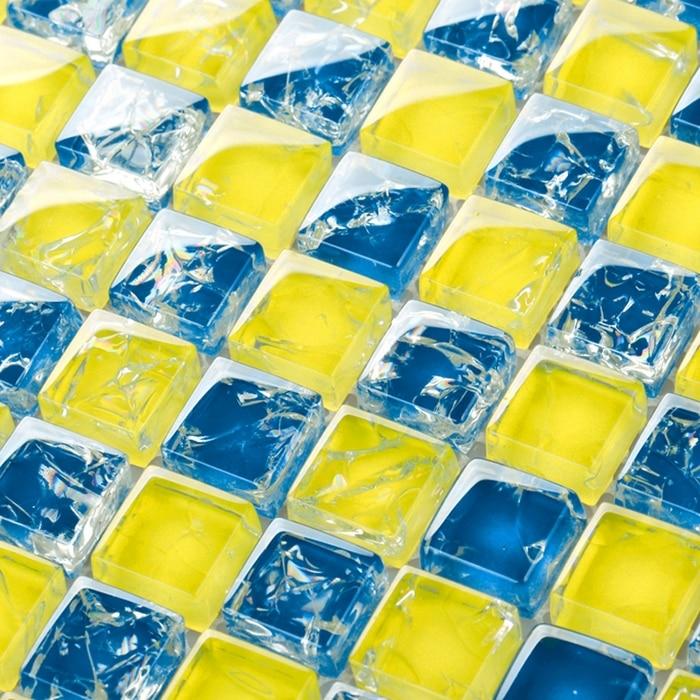 Yellow Tiles For Kitchen: Yellow Mixed Blue Crakle Glass Mosaic Tiles For Kitchen