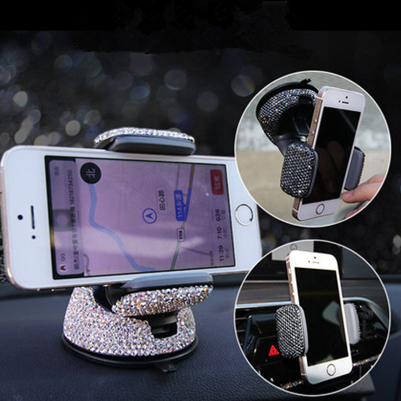 Image 2 - Crystal Rhinestones Universal Car Phone Holder For IPhone Smartphone Mobile Phone Car Holder Stand Air Vent Mount Phone Holder-in Universal Car Bracket from Automobiles & Motorcycles