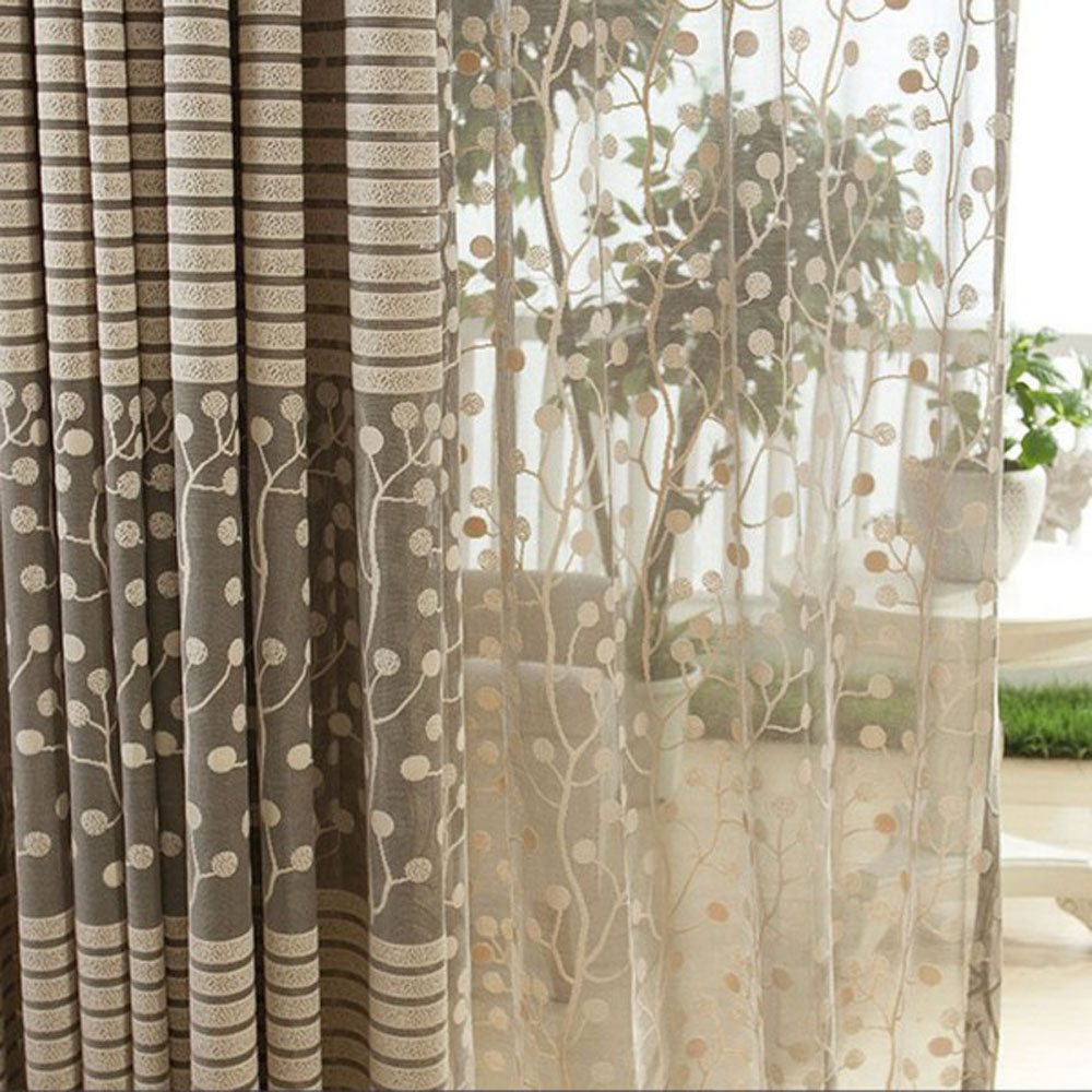2PCS Jacquard Flower Pattern Net Curtains for Window Elegant