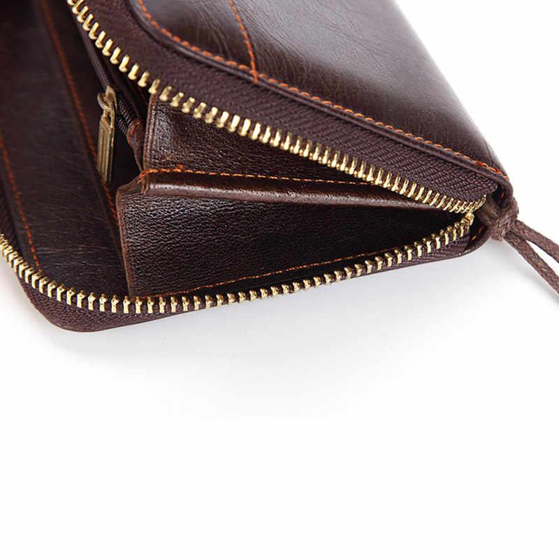 Bolsa de embreagem de couro genuíno masculino com zíper longo titular do cartão carteira