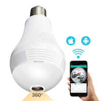 360 Degree IP Home Camera Bulb Security Wifi Light Fish Eye Panoramic Light Remote Home Security System 2MP Motion Detection