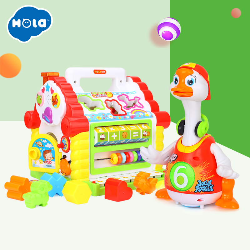 HOLA 739+828 Kids Fun Tree House Activity Cube Toy Learning Cottage & Super Intelligent Hip hop Dance Read Tell Story Toy
