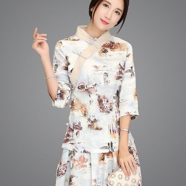 a571c28ad Xangai História Estilo Chinês Moda Feminina Blusas 3 4 Camisas Chineses  Hanfu Top Mulheres Casuais