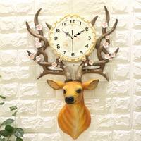 Geekcook 2017 New Creative European Style 3D Classical Deer Wall Clock Delicate Quiet Quartz Clock For Living Room Bedroom