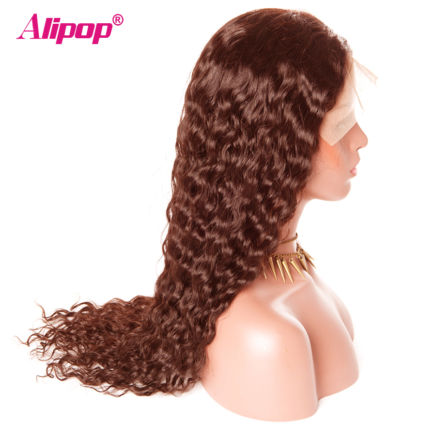 360 Lace Frontal Wig Brazilian Water Wave 4 Light Brown 150 Density Lace Front Human Hair