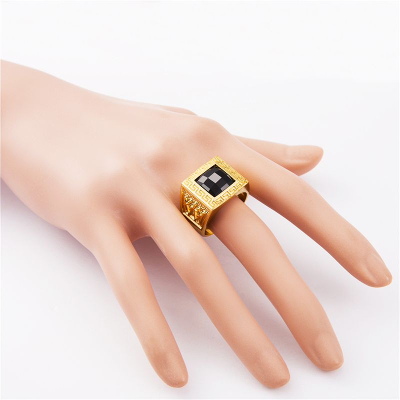 NYUK Gold Rings Bling Crystal Gem Ring Men Gift Hip Hop Rings