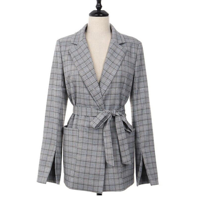 Work Plaid Office Lady Blazer Jacket Fashion Bow Sashes Split Sleeve Femme Elegant Blazers For Women With Belt Feminino Suit