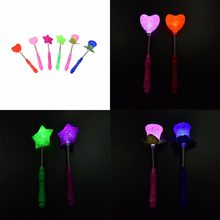 New LED Magic Star Wand Party Xmas Halloween Star Heart Flower Sticks for kids Flashing Lights up Glow Sticks 1PC(China)