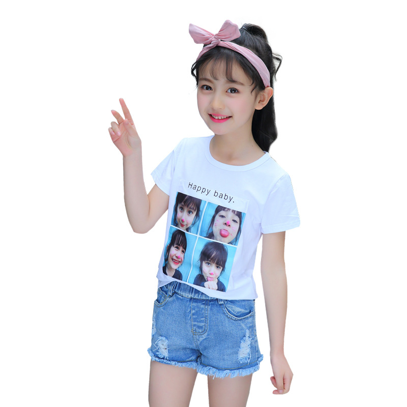 tshirt enfant garcon 2018 girls summer tshirt short sleeve cartoon printed kids top tees casual cotton children tops 4-13T