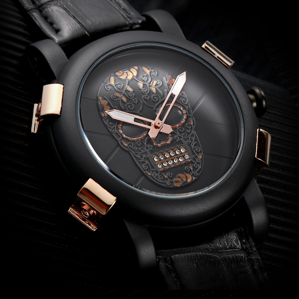 Collector SKONE Luxury 3D Skull Watch Men's Genuine Leather Black Quartz men Watches Matte Dial Sports Watch Relogio Masculino skone relogio 9385