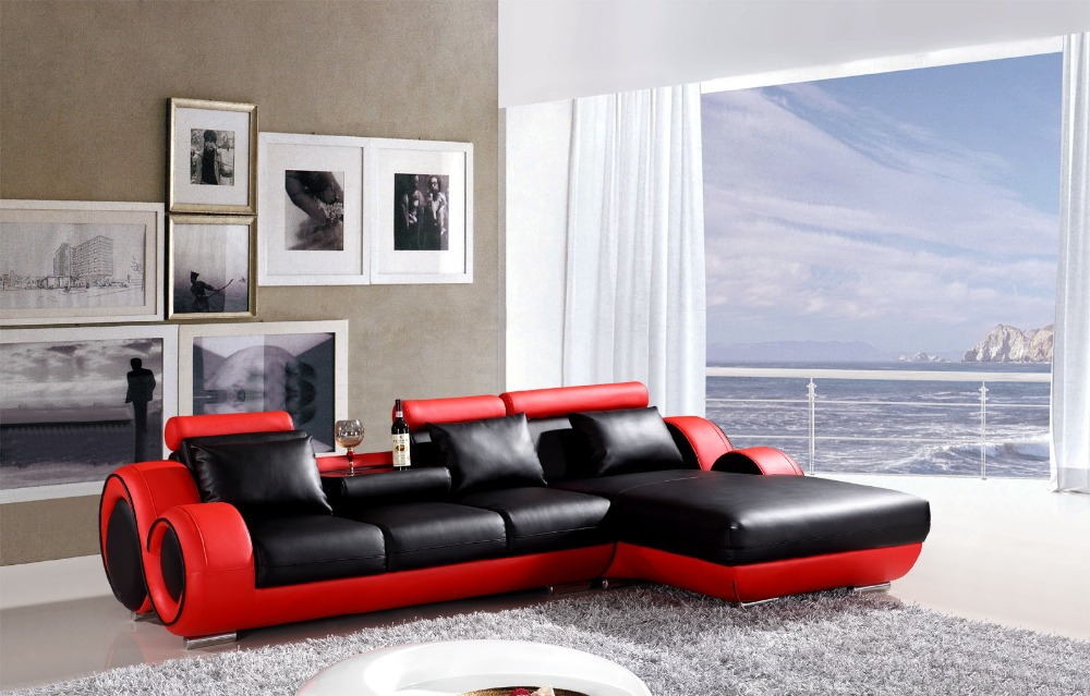 L shape Reclining sofa set modern leather couch # 4085 (Black /red) ... : black reclining sofa set - islam-shia.org