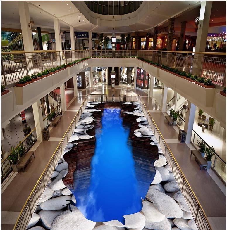 3D wallpaper 3d floor murals blue sky PVC waterproof floor Custom Photo self-adhesive 3D floor Home Decoration