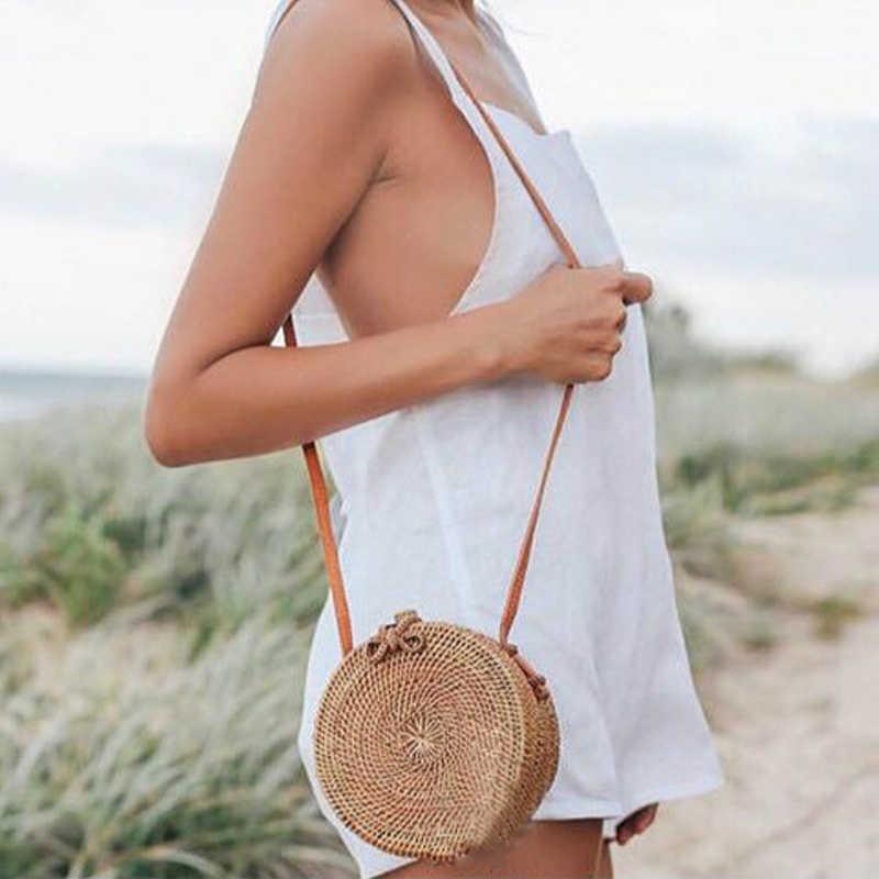 Bolsas Rattans Para As Mulheres 2018 Handmade Rodada Arco Fivela Sacos de Praia Bohemian Estilo Floral Palha Único Cinta Crossbody Bag 08