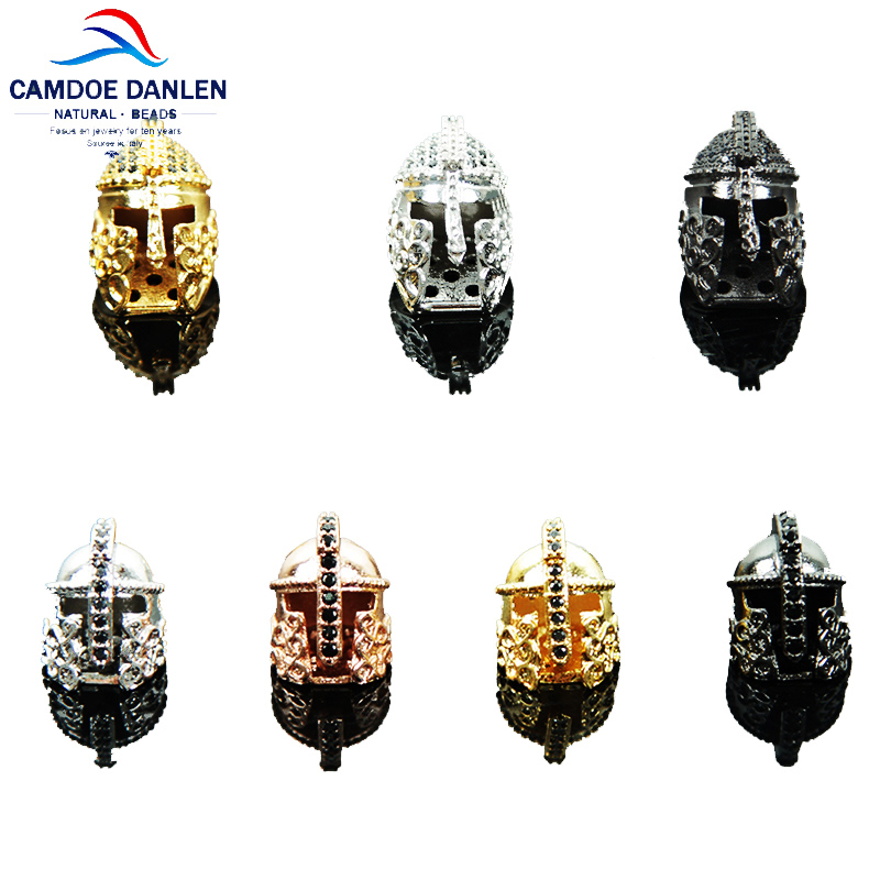 Copper Material Spartan Warrior Gladiator Helmet Beads Spacer Bead Metal Charms DIY Accessories Bracelet Jewelry Making