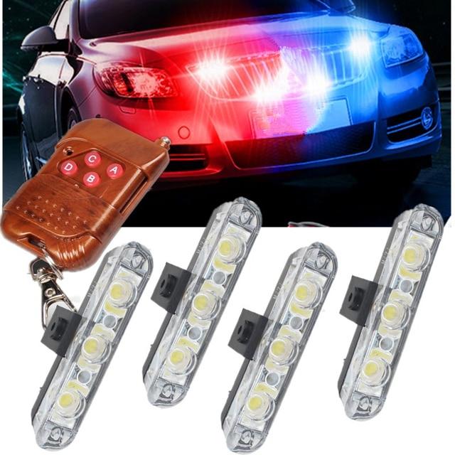 Luz estroboscópica de emergencia para coche y camión luz de advertencia estroboscópica con control remoto inalámbrico de 4x 3/led para ambulancia y Policía