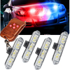 Wireless Remote 4x3 Led Ambulance Police Light DC 12V Strobe Warning Light For Car Truck Emergency
