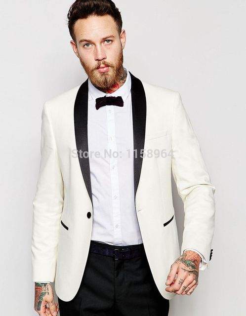 e3eb5269c Popular Style One Button Ivory Groom Tuxedos Groomsmen Men's Wedding Prom  Suits Bridegroom (Jacket+