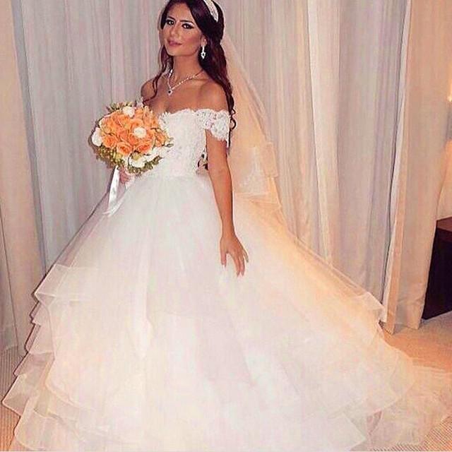 Weiße Spitze Ballkleid Hochzeit Brautkleider Tiered Tüll Prinzessin ...