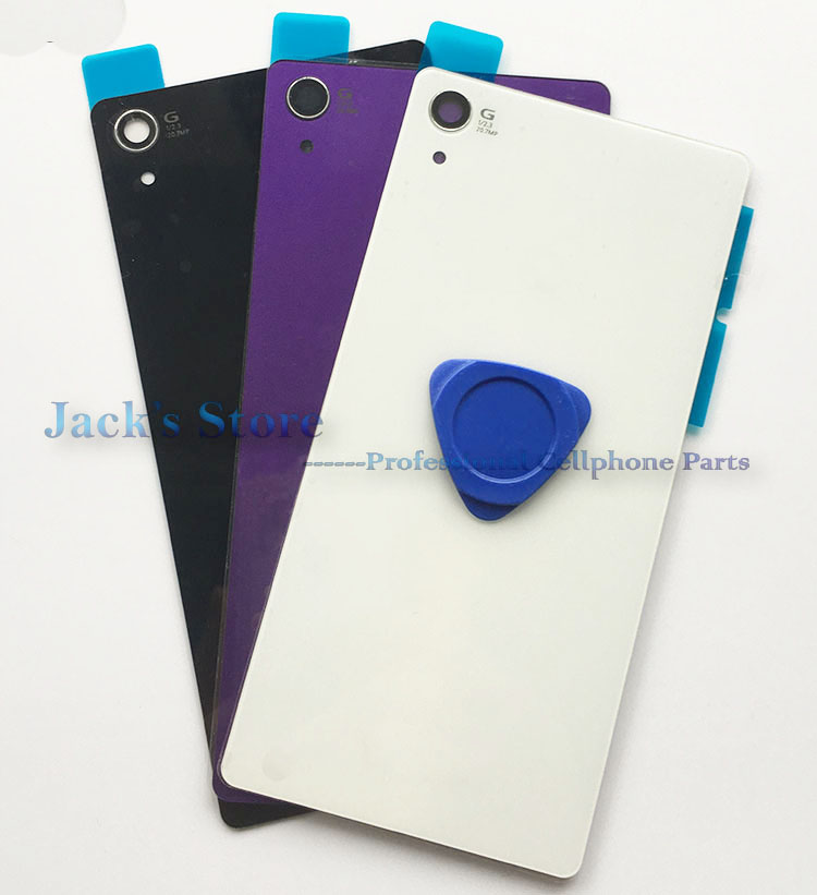 For <font><b>Sony</b></font> xperia <font><b>Z2</b></font> D6543 L50W D6503 Glass <font><b>Battery</b></font> <font><b>Cover</b></font> Rear Back Door Glass Housing With NFC Antenna + Sticker Logo image