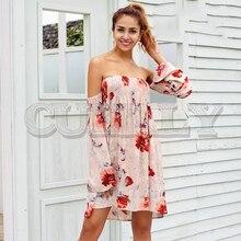 купить CUERLY Strapless floral print summer dress Women off shoulder short dress Flare sleeve casual boho chic beach dress vestidos дешево