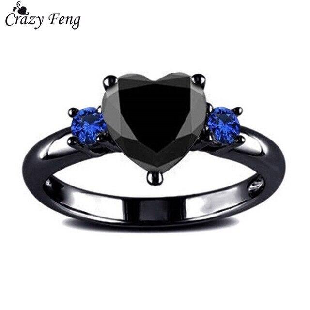 Brand Charming Black Gun Color Fashion Blue Cubic Zirconia Heart Crystal Rings F