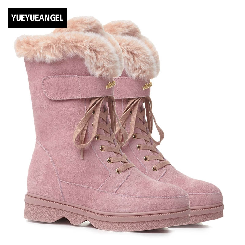 2018 New Snow Boots Women Side Zipper Lace Up Winter Fashion Warm Shoes Female Round Toe Hidden Heel Fleece Lining Footwear Pink free shipping 2016 new winter women snow boots plus size 34 43 round toe lace up warm sweet pink martin boots boty