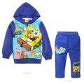 Ventas calientes de los niños chándales de ropa para niños primavera/otoño Spongebob 2 unid establece boy de algodón de impresión de ropa deportiva ENVÍO LIBRE MS0306