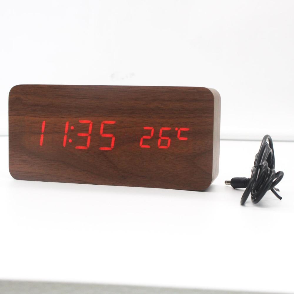 Ultra moderní dřevěné digitální hodiny Teploměr Stolní LED - Dekorace interiéru