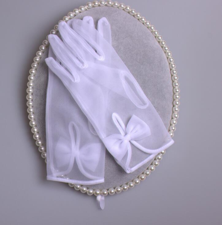Women's Elegant White Color Mesh Glove Female Spring Summer Sunscreen Transparent Bow Glove R1480